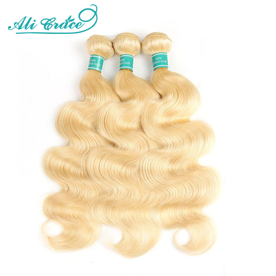 Ali Grace Hair Body Wave Blonde 613 mechones de cabello humano ondas de cabello rubio miel brasileña 3 mechones extensiones de cabello ondulado cuerpo