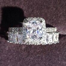 Moonso design de moda 925 prata casal anéis aaa cz pedra anel de noivado conjunto para o casamento feminino jóias r4950