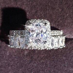 Image 1 - Moonso diseño de moda 925 anillos de pareja de plata AAA CZ piedra conjunto de anillos de compromiso para las mujeres boda joyería R4950