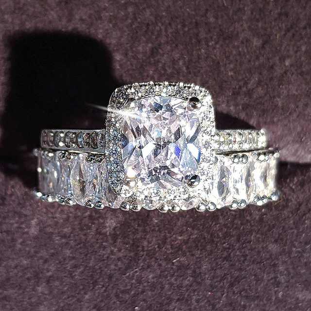 Moonso diseño de moda 925 anillos de pareja de plata AAA CZ piedra conjunto de anillos de compromiso para las mujeres boda joyería R4950