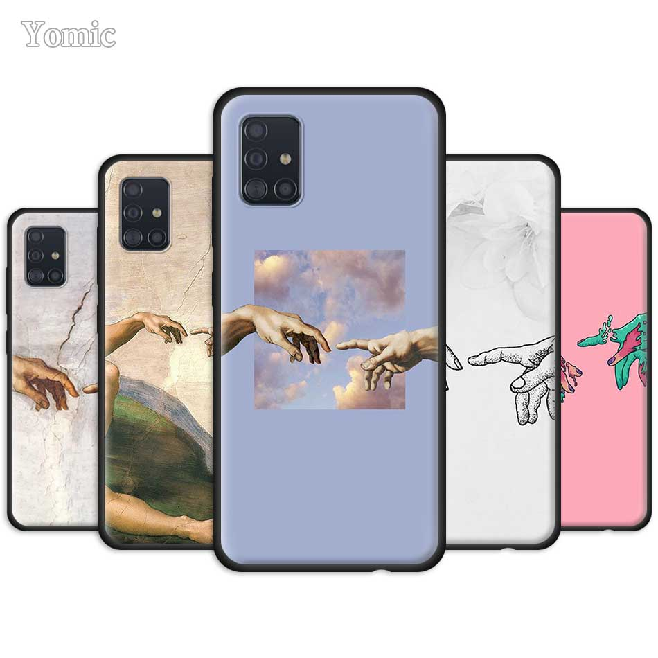 The Creation Of Adam Case For Samsung Galaxy A51 A71 A21 A81 A91 A01 S20 Ultra 5G S10 Plus Silicone Black TPU Phone Cover