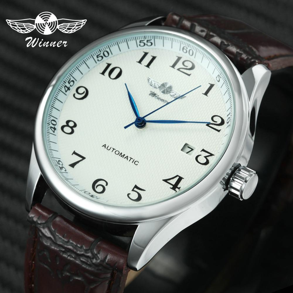 Fashion Business Automatic Watch Men Leather Strap Male Mechanical Wrist Watches Calendar Date Clock Montre Homme WINNER