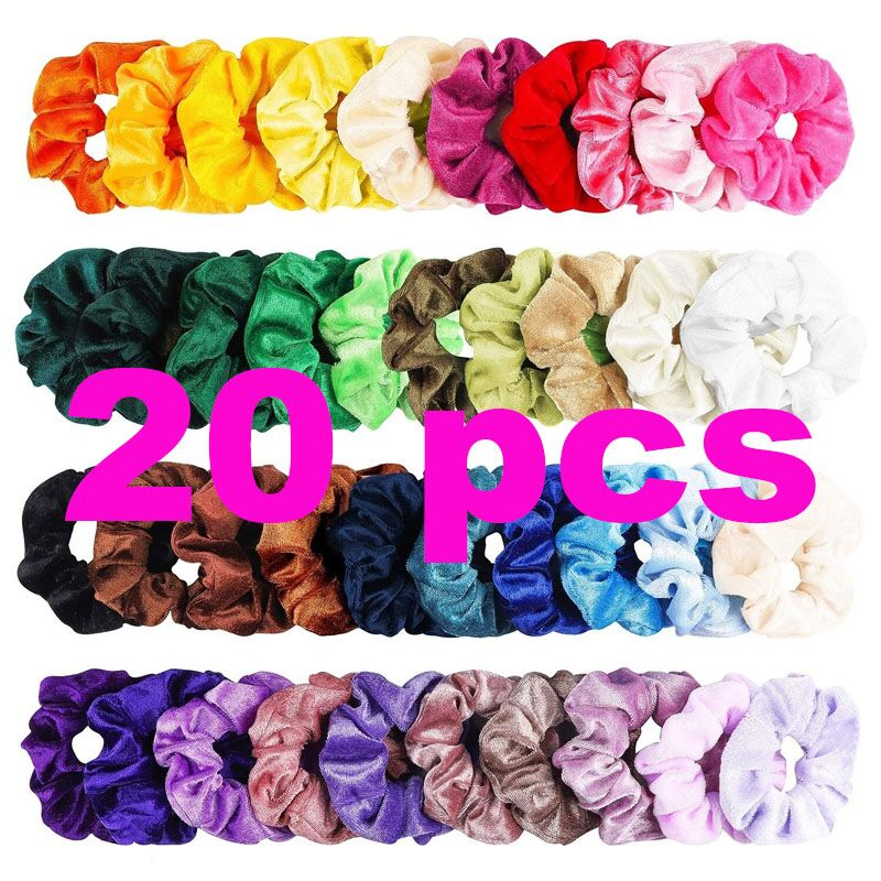 20/16/12/6PCS Fashion Velvet Scrunchie Vintage Elastic Hair Rubber Bands Hair Ropes Hair Ties Gum For Women Hair Accessories