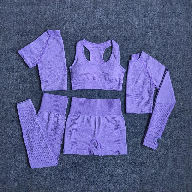 2/3/5PCS Seamless Women Yoga Set Workout Sportswear Gym Clothing 5
