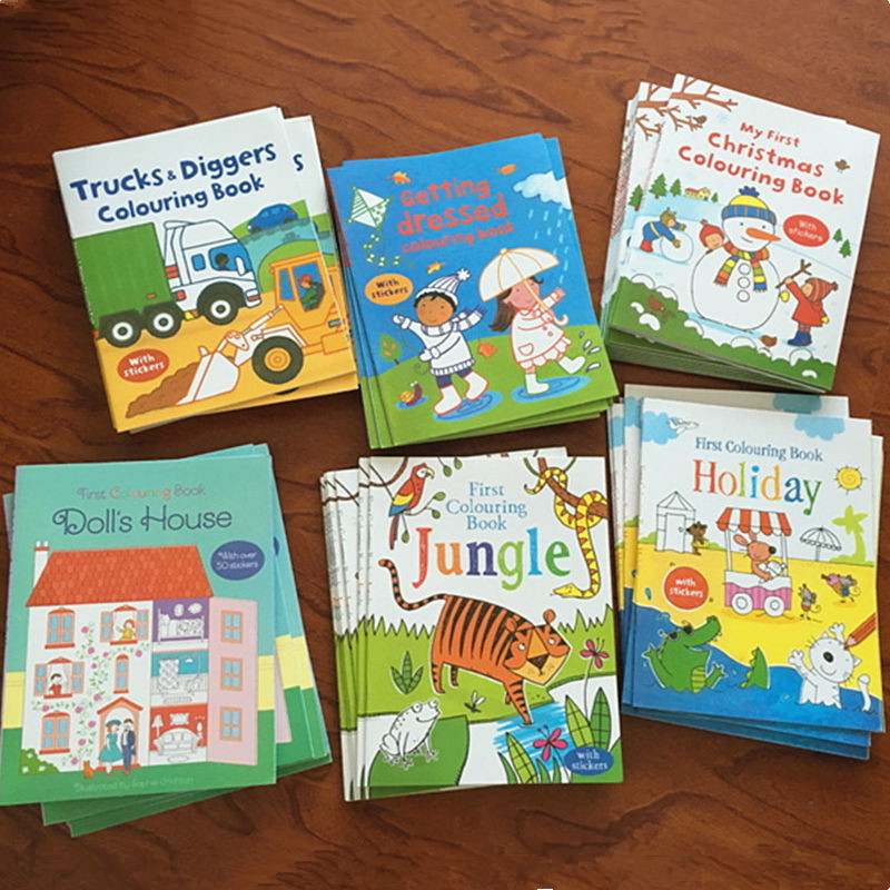 Lovely Sticker Books Scene Drawing Cartoon Stickers Books Children English Coloring Picture Books Birthday Gifts Toys & Hobbies