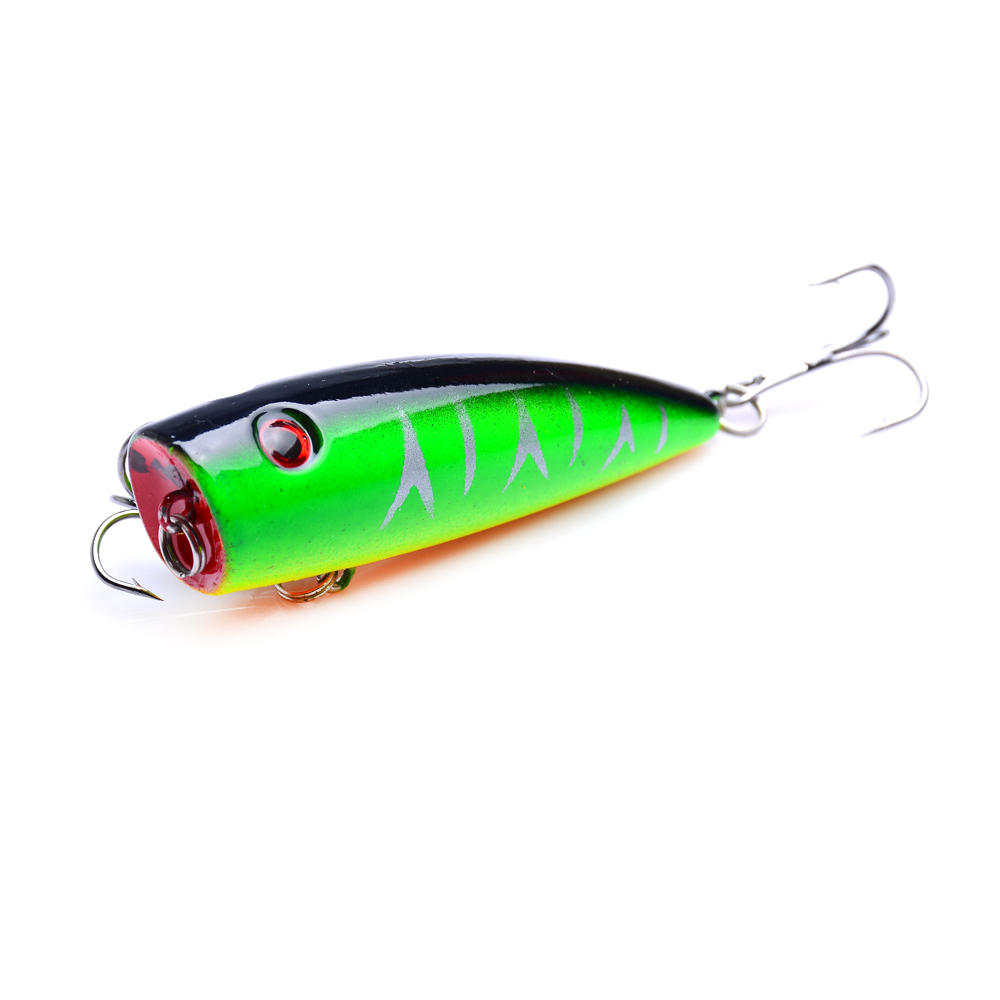 1Pcs bag 6 5cm 9g Top Water Floating Lure Popper Artificial Bait Fishing Lures Pooper two Hooks 3D Fish Eye Poper Fake Lure in Fishing Lures from Sports Entertainment