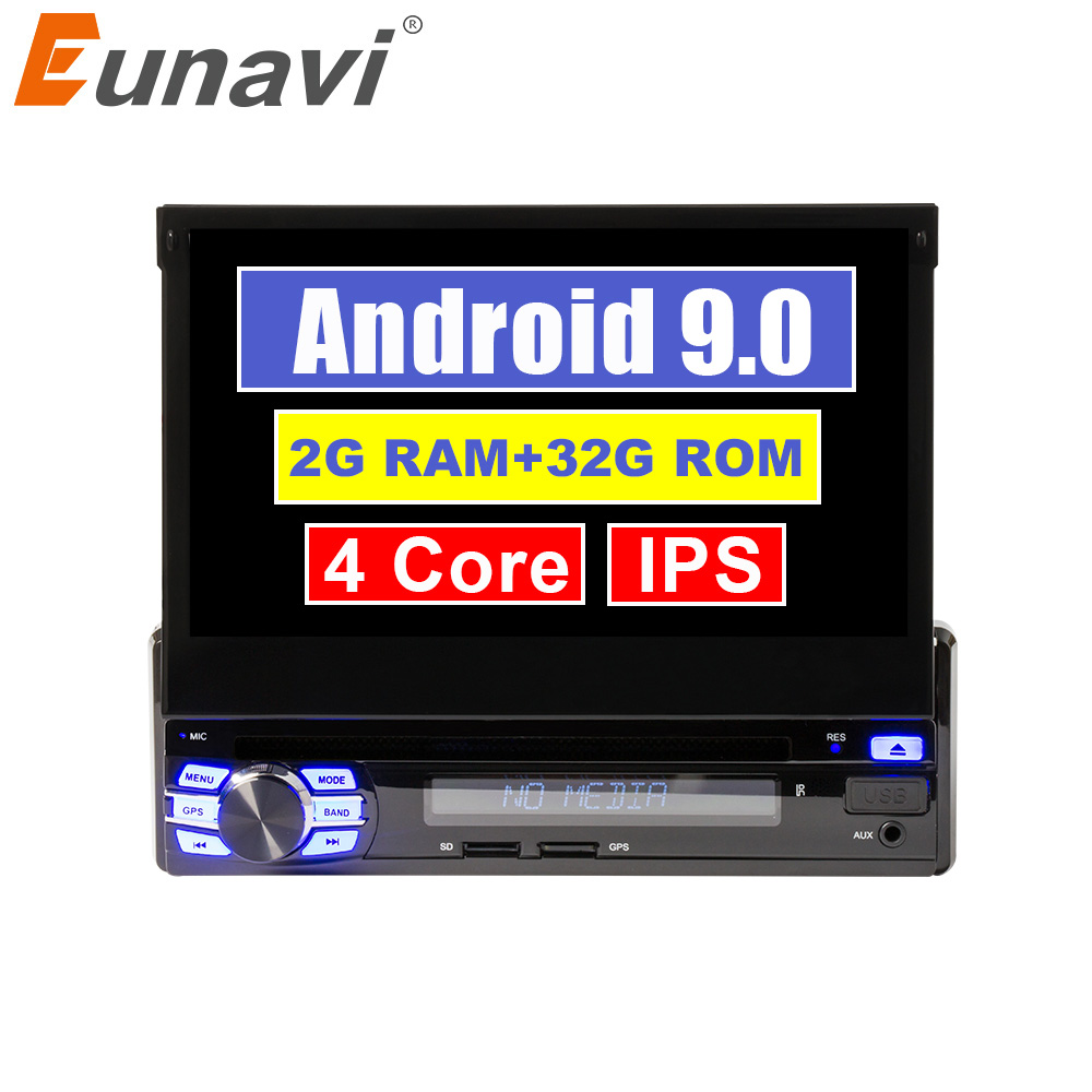 Eunavi Single 1 Din 7 Android 9 Car DVD Radio CD Player GPS Stereo 1din Universal 1024*600 Hd Headunit navigation IPS subwoofer image