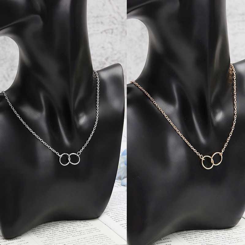 Min 1pc oro y plata infinito doble círculos Collar para chicas círculos colgante collar envío gratuito