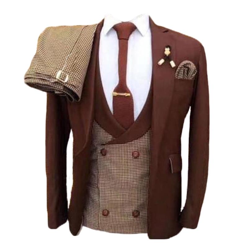 Custom Groom Tuxedos Groomsmen Suits Best Man Wear Mens Wedding Suits Bridegroom Business Suits Dinner Suits(Jacket+Pants+Vest)