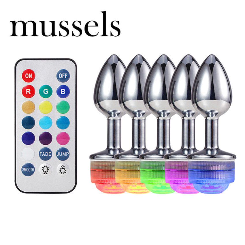 Mussels LED Anal Plug Metal Colorful Light Butt Plug For Adult Game Anal Dildo Realistic Intimate Goods Vagina Massager Toys NO
