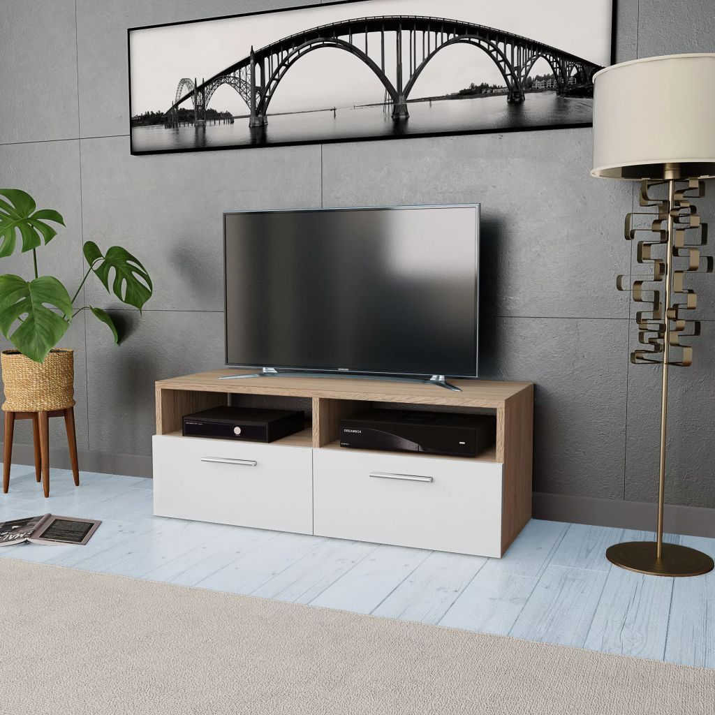 VidaXL TV Cabinet Chipboard 95x35x36 Cm Oak And White