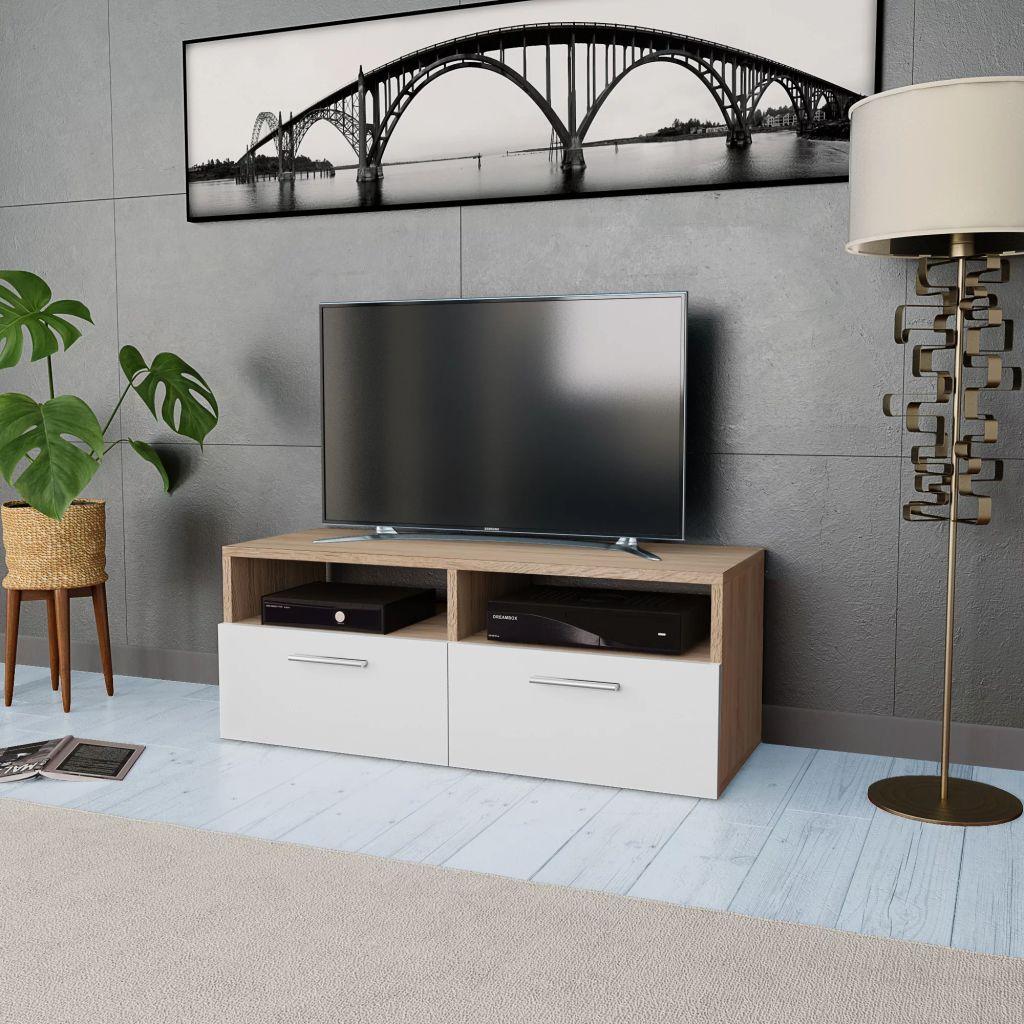 VidaXL TV Cabinet Chipboard 95x35x36 Cm Oak And White