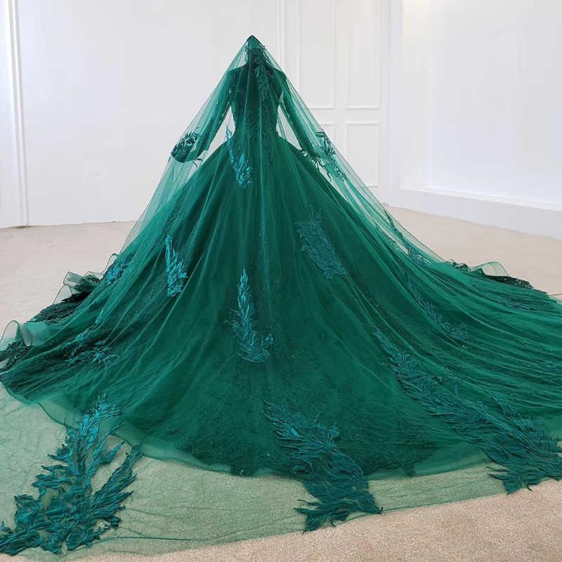 BacklakeGirls ירוק שמלת ערב ארוך מוסלמי נשים ארוך שרוולים מיוחד O-צוואר לבוש הרשמי עם רעלה כלה שמלת Abendkleider