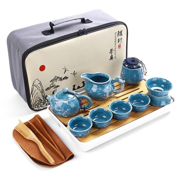 Cinese di alta qualità kung fu tea set in ceramica teiera portatile set da viaggio outdoor gaiwan tazze di tè cerimonia del tè tazza da tè 2