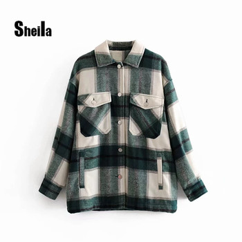 Sheila Vintage Stylish Pockets Oversized Plaid Jacket Coat Women 2020 Fashion Lapel Collar Long Sleeve Loose Outerwear Chic Tops black side pockets long sleeves outerwear