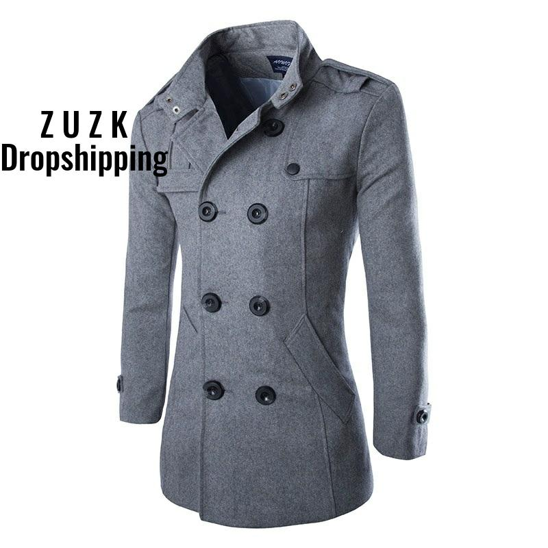 ZUZK Autumn Winter New Good Quality Men's Wool Blends Trench Men's Double Breasted Slim Fit Dust Coat Wind Coat