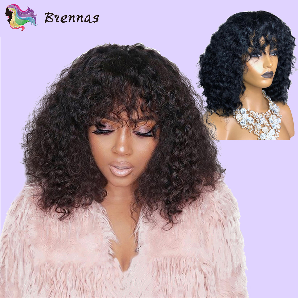 Brennas Human Hair Lace Wigs Short Bob Curly Wig With Bangs Brazilian Remy Hair 13X4 Lace Front Wig 8-16'' For Women 150%Density