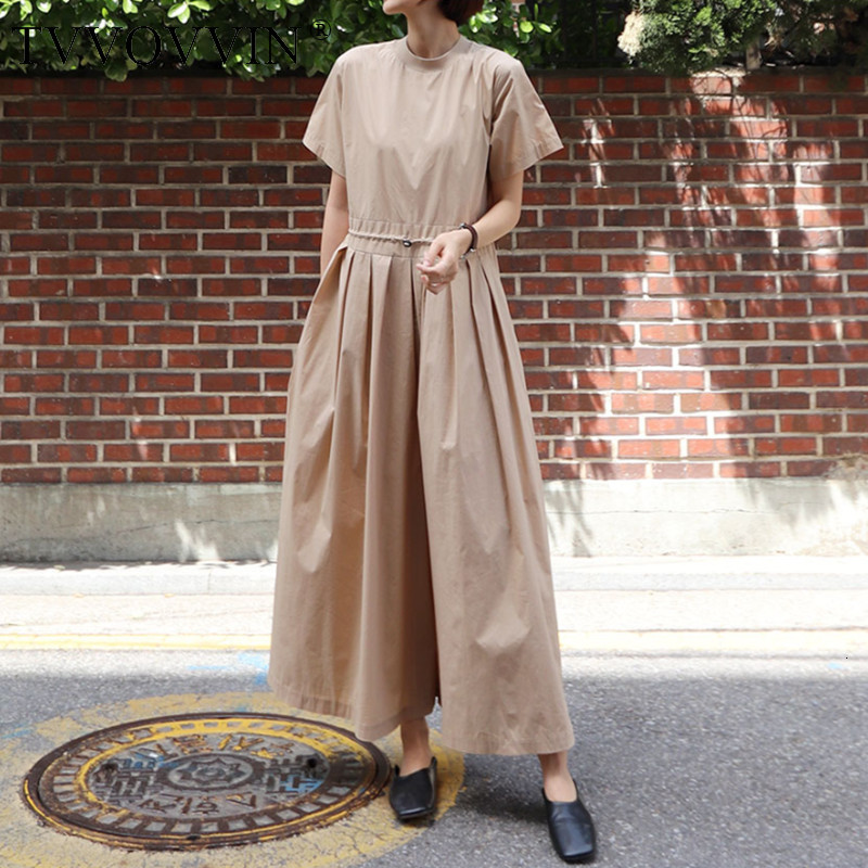 TVVOVVIN 2019 New Summer Fashion Women Clothes Short Sleeves Round Neck High Waist Jumpsuit Full Length Loose Fashion V009