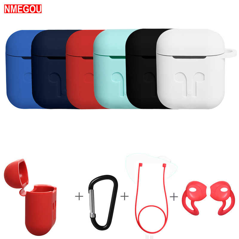 4 In 1 Earphone Silicone Case Anti-lost Wire Eartips for Apple Airpods Air Pods Bluetooth Wireless Headphone Accessories