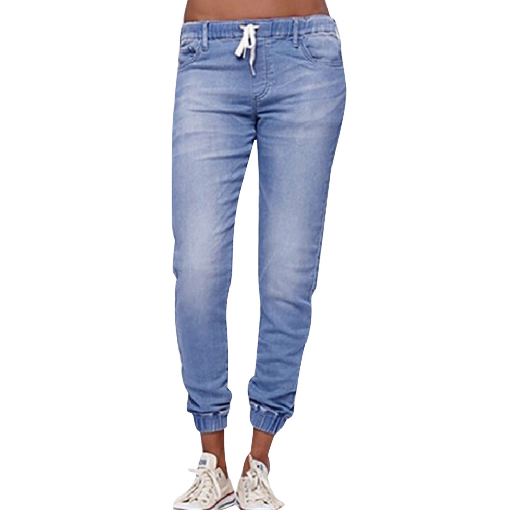 Jaycosin Autumn Fashion Ladies Casual Loose Pencil Denim Skinny Jeans Elastic Stretch Trousers Small Feet Cropped Jeans 11#4
