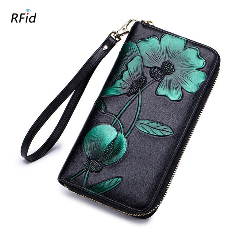 Western Rfid Three Dimensional Flower Print Long Women Wallet Vintage Zipper Wristband Women Long Coin Iphine Purse in Wallets from Luggage Bags