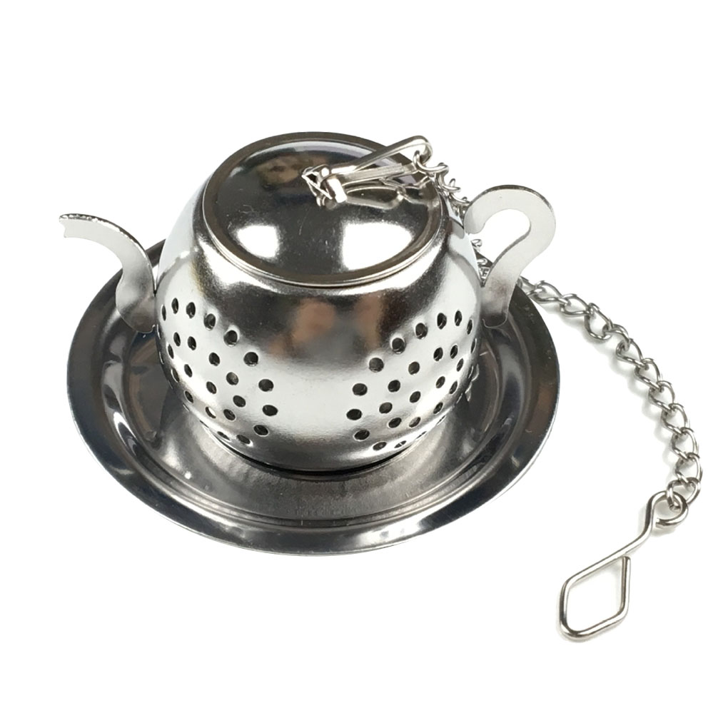 Teapot Shape Loose Tea Infuser Stainless Steel Leaf Tea Maker Strainer With Chain Drip Tray Herbal Spice Filter
