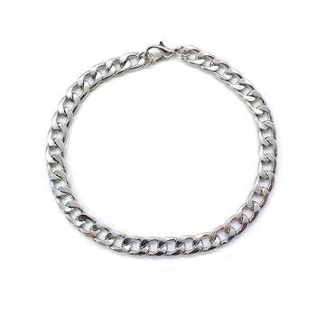 NEW Men's hip-hop stainless steel punk rock bracelet Cuban brake chain men's bracelet women's jewelry Simple Style hand chain 6 2