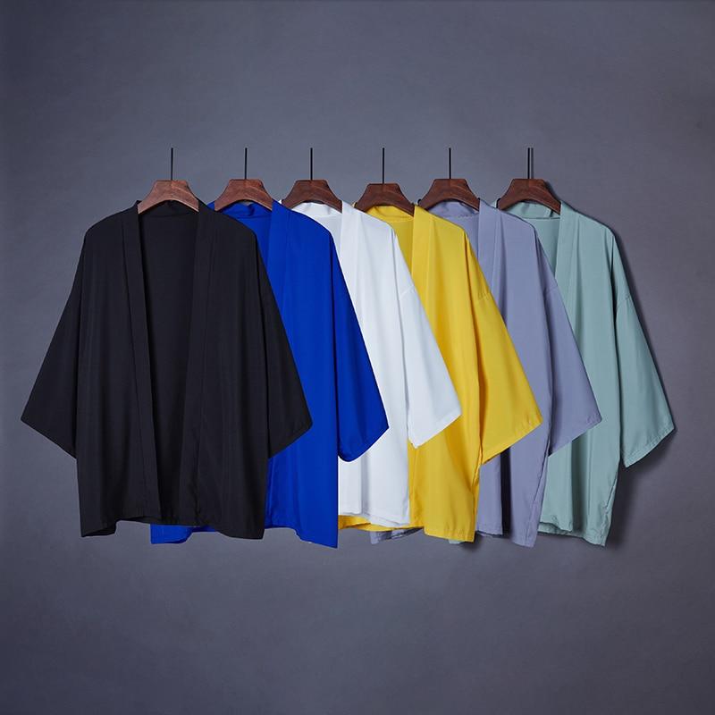 2020 Fashion Spring Summer Plain Color Coat Japanese Kimono Cardigan Kimono Haori For Woman Man Loose Thin Outer Garment