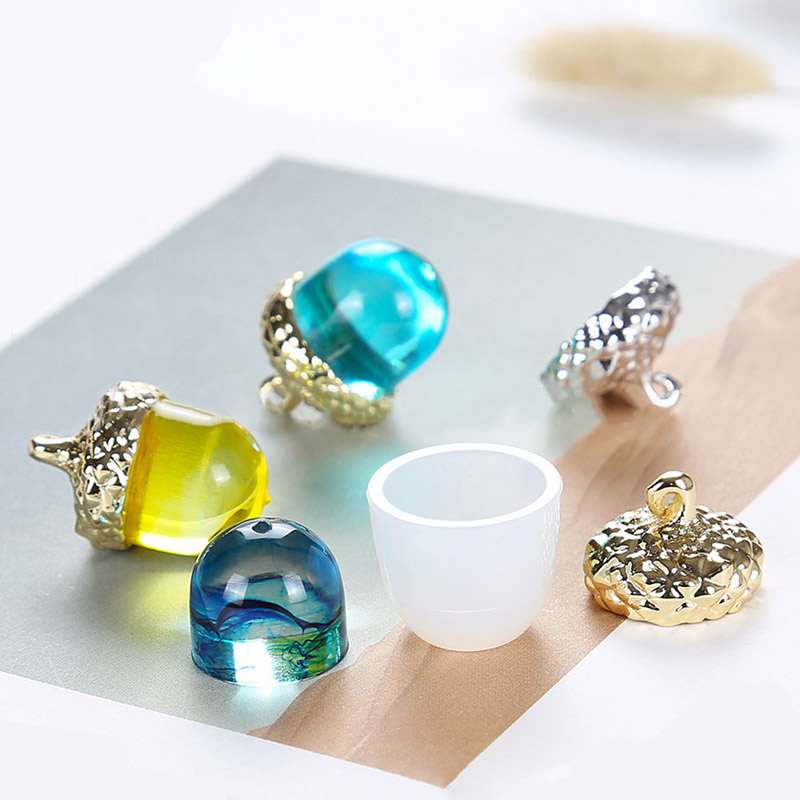 3D Acorn Silicone Mold And Metal Acorn Cap Jewellery DIY For UV Resin Epoxy Resin Mould Jewelry Tool Pendants Jewelry Making
