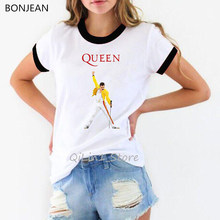 Freddie Mercury The Queen Band T-Shirt Women Hip Hop Rock Hipster T Shirt woman tshirt top female T-shirts harajuku Top Tees(China)