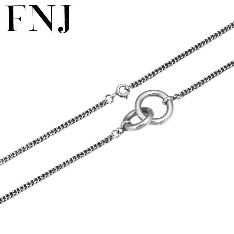 FNJ цепочка змейка на застежке ожерелье 925 серебро 2 мм 45 см хорошее оригинальное S925 серебро женское ожерелье s для изготовления ювелирных изд