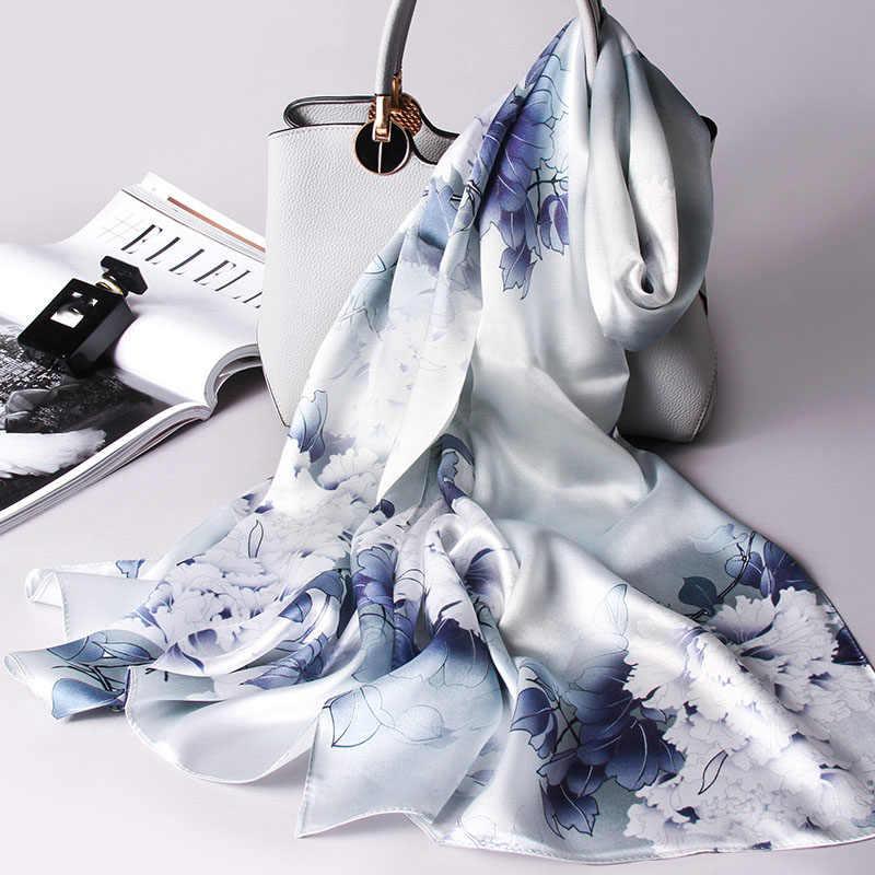 100% Reale Sciarpa di Seta Delle Donne Sciarpa di Seta di 2020 Hangzhou Seta Pura Scialli E Impacchi per Le Signore Foulard Stampato Naturale Lunga di Seta sciarpe