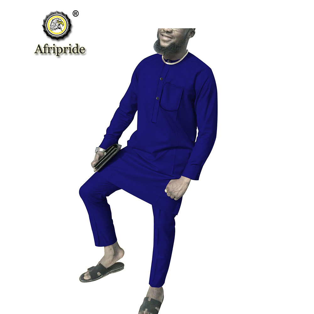 2019 African Men Clothing 2 Piece Suit Long Sleeve Dashiki Shirts Tops+pants Set Ankara Fabric Print Pocket AFRIPRIDE S1916004