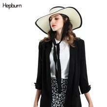 Hepburn brand block UV foldable sun protection panama hat summer straw women big wide brim beach