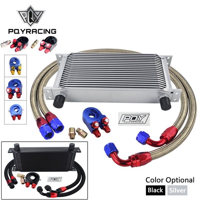 UNIVERSAL 19 ROWS OIL COOLER KIT +OIL FILTER SANDWICH + STAINLESS STEEL BRAIDED AN10 HOSE WITH PQY STICKER+BOX