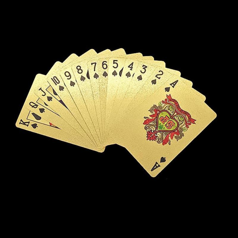 Durable Waterproof Gold Foil Plated Playing Cards Set 54pcs Deck Poker Euros/Dollar Style Gambling Board Game Accessories