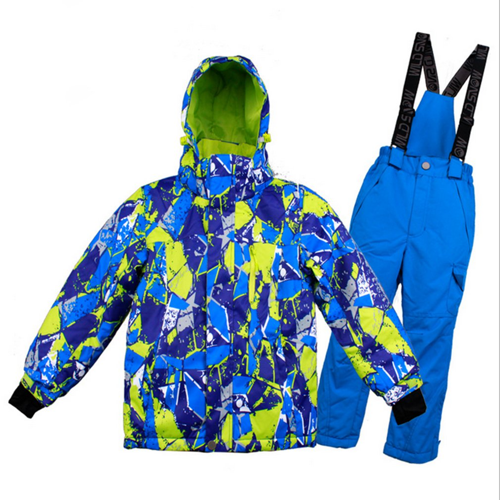 Kids Ski Suit Winter Waterproof Windproof Thicken Warm Snow Clothes Ski Sets Jacket + Pants Skiing And Snowboarding Suits