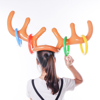 цена на Christmas Party Toss Game Inflatable Reindeer Antler Hat with Rings Hats Inflatable Reindeer Antler Ring Toss Game New Year