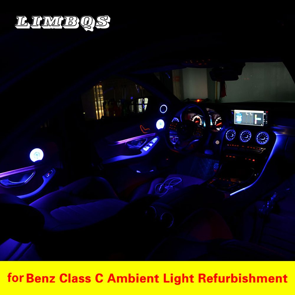 64 color Ambient light For <font><b>W205</b></font> <font><b>Mercedes</b></font> benz C GLC class C260 GLC C180 class Atmosphere advanced light cover all around the car image