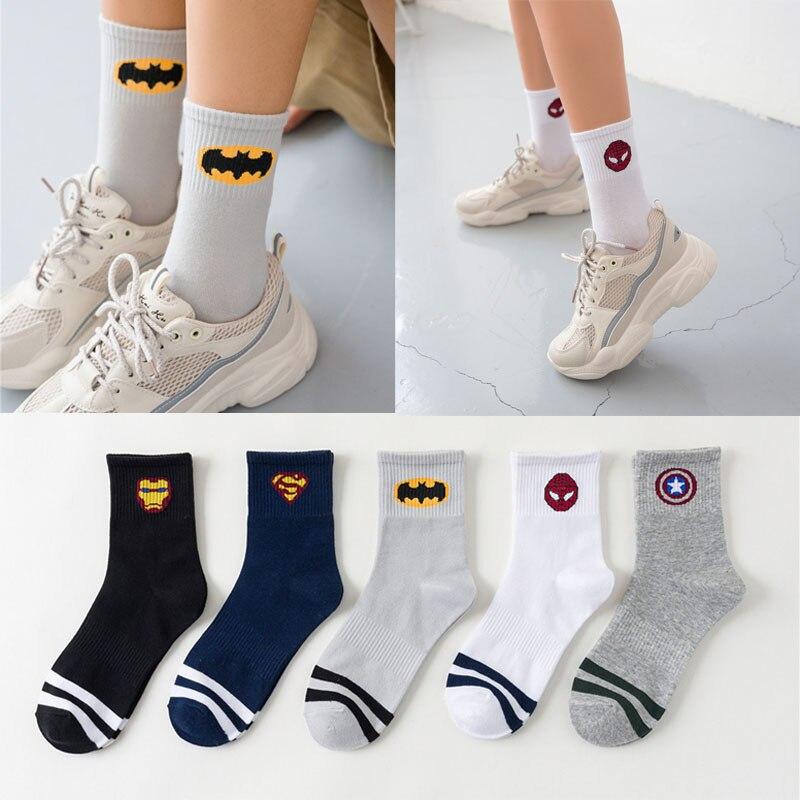 New Marvel Comics Heroes General Socks Cartoon Iron Man Captain America High Temperature Stitching Pattern Casual Men's Socks
