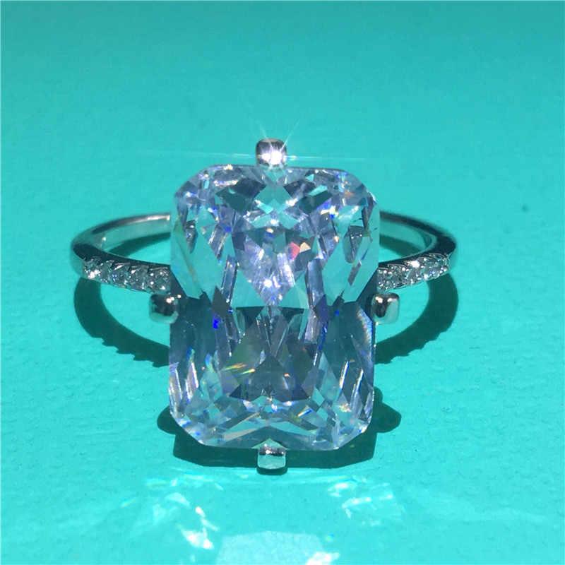 בעבודת יד נשי טבעת 925 כסף סטרלינג פרח לחתוך 6ct AAAAA זירקון cz אירוסין נישואים טבעות נשים תכשיטי כלה