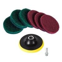 4 Polegada kit de limpeza das almofadas do purificador da telha da escova do poder da broca  ferramenta resistente da limpeza do agregado familiar (broca não incluída)