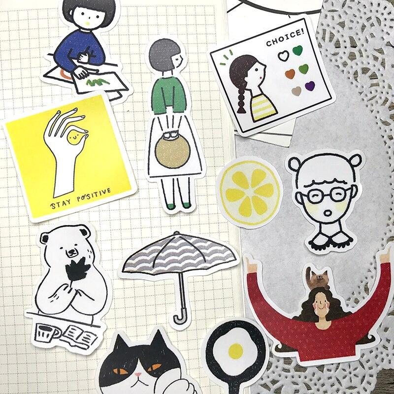 24PCS Good-looking Hand Account Sticker Simple Life Hand-painted Cartoon Creative Diary Book Decorative Album DIY Sticker INS