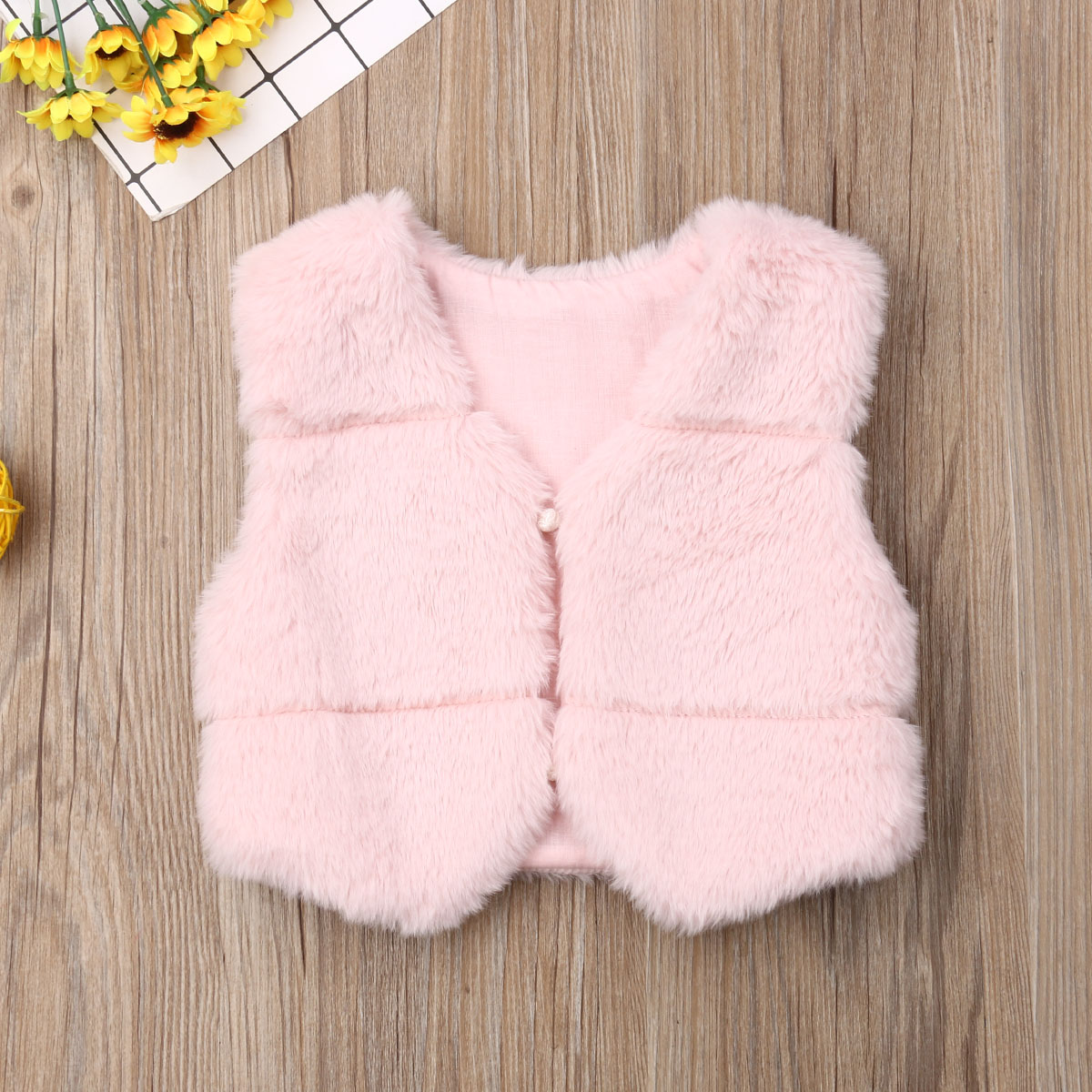 New Fall Winter Fashion Kids Baby Girls Faux Fur Vest Little Girls Princess Cute Thick Warm Coat Toddler Waistcoats Outerwear