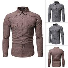 European size Spring Autumn Features Shirts Men Casual Shirt Long Sleeve Slim Male grid pocket Decoration Big yard