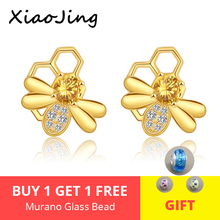 XiaoJing High Quality 100% 925 Sterling Silver Bee Story Clear CZ Exquisite Stud Earrings for Women Fashion Jewelry Top sale