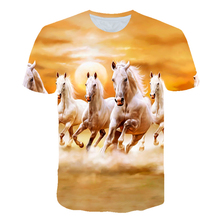 New Summer T shirt Men Streetwear Round Neck Short Sleeve Tees Tops Funny Animal Male Clothes Casual Run Horse 3D Print Tshirt