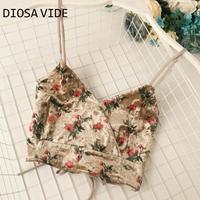 Flower velvet printing V neck breast wrapped short waist exposed slim back tie all match sling vest