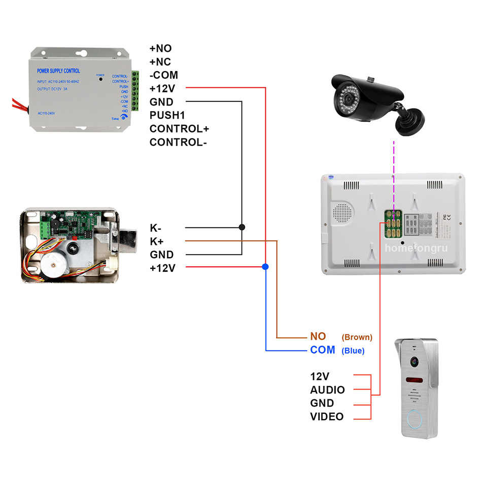 HomeFong interphone vidéo 10 pouces visiophone 1200TVL grand Angle caméra vidéo sonnette maison interphone système de contrôle d'accès