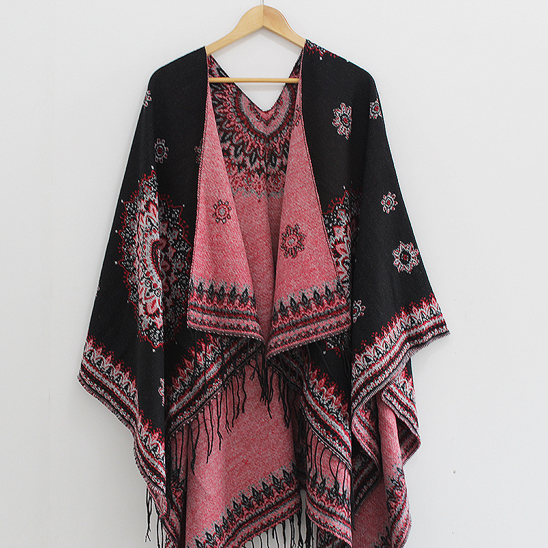 Women Fashion Retro Style Tassel Poncho Shawl Cape Cardigans Winter Ladies Ethnic Shawl Scarves Pashmina Ruana Female